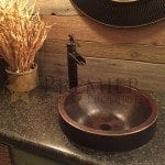 Round Skirted Vessel Hammered Copper Sink