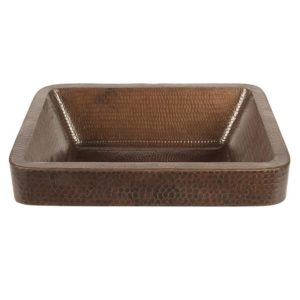 "17"" Rectangle Skirted Vessel Hammered Copper Sink"