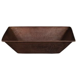 17″ Rectangle Wired Rim Vessel Hammered Copper Sink