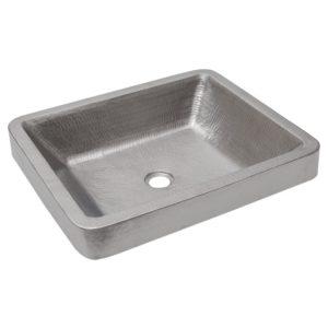 Rectangle Skirted Vessel Hammered Copper Sink in Electroless Nickel