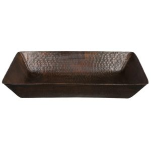 20″ Rectangle Vessel Hammered Copper Sink