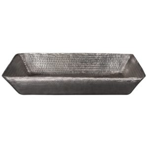 20″ Rectangle Vessel Hammered Copper Sink in Nickel