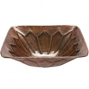 Square Feathered Vessel Hammered Copper Sink