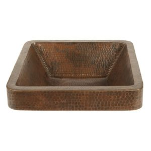 Square Skirted Vessel Hammered Copper Sink