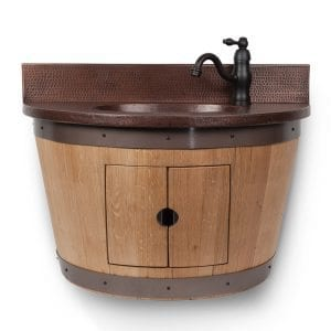 Wall Mounted Wine Barrel Vanity and Faucet Package/Combo – Cabernet Finish