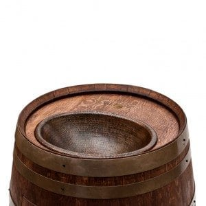 """Wine Barrel Vanity Package with 17"""" Oval Copper Sink - Whiskey Finish"""