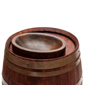 "Wine Barrel Vanity Package with 17"" Oval Skirted Vessel Copper Sink - Cabernet Finish"