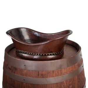 Wine Barrel Vanity Package with Bath Tub Vessel Sink - Whiskey Finish
