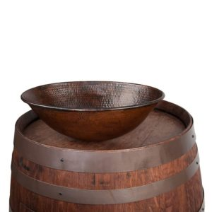 "Wine Barrel Vanity Package with 17"" Oval Wired Rim Vessel Sink - Whiskey Finish"
