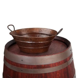 Wine Barrel Vanity Package with 16″ Oval Bucket Vessel Sink with Handles – Cabernet Finish