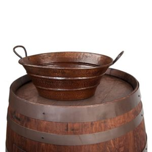 "Wine Barrel Vanity Package with 16"" Oval Bucket Vessel Sink with Handles - Whiskey Finish"
