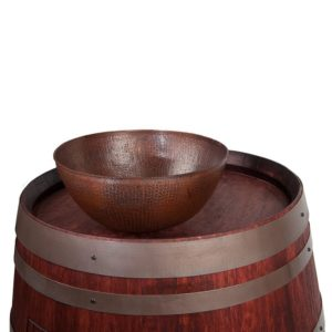 "Wine Barrel Vanity Package with 13"" Round Vessel Sink - Cabernet Finish"