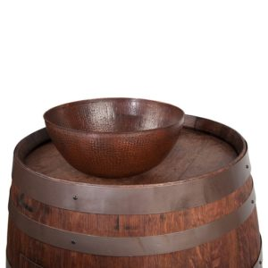 "Wine Barrel Vanity Package with 13"" Round Vessel Sink - Whiskey Finish"