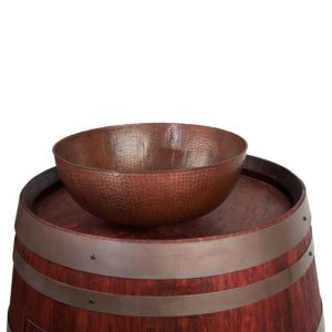 "Wine Barrel Vanity Package with 15"" Round Vessel Sink - Cabernet Finish"