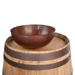 "Wine Barrel Vanity Package with 15"" Round Vessel Sink - Natural Finish"