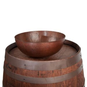 """Wine Barrel Vanity Package with 15"""" Round Vessel Sink - Whiskey Finish"""