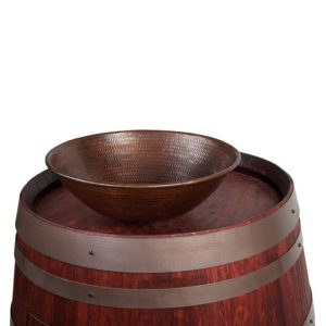 Wine Barrel Vanity Package with 15″ Round Wired Rim Vessel Sink – Cabernet Finish