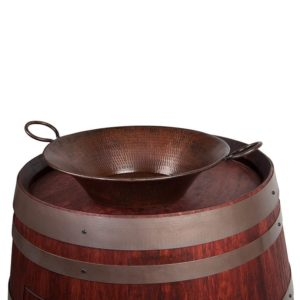 """Wine Barrel Vanity Package with 16"""" Round Miners Pan Vessel Sink- Cabernet Finish"""