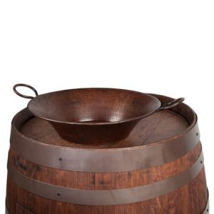 "Wine Barrel Vanity Package with 16"" Round Miners Pan Vessel Sink - Whiskey Finish"