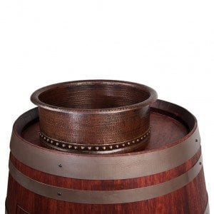 "Wine Barrel Vanity Package with 15"" Round Vessel Tub Sink - Cabernet Finish"