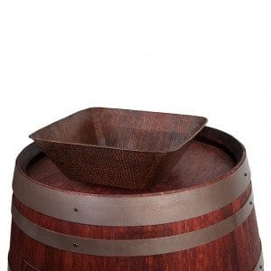 "Wine Barrel Vanity Package with 14"" Square Vessel Sink - Cabernet Finish"