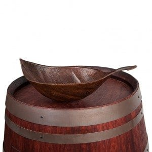 Wine Barrel Vanity Package with Leaf Vessel Hammered Copper Sink - Cabernet Finish