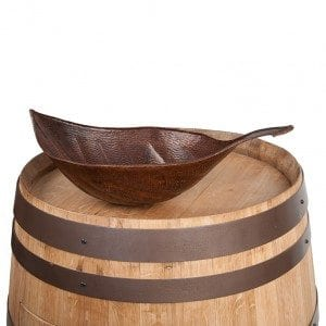 Wine Barrel Vanity Package with Leaf Vessel Hammered Copper Sink – Natural Finish
