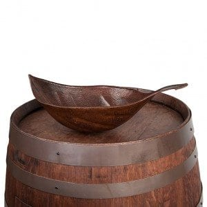 Wine Barrel Vanity Package with Leaf Vessel Hammered Copper Sink - Whiskey Finish