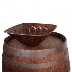 Wine Barrel Vanity Package with Square Feathered Vessel Hammered Copper Sink - Whiskey Finish