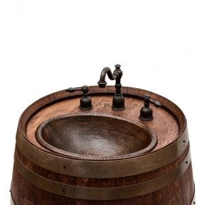"""Wine Barrel Vanity Package with 17"""" Oval Copper Sink & Wide Spread Faucet - Whiskey Finish"""