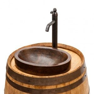"Wine Barrel Vanity Package with 17"" Oval Skirted Vessel Copper Sink & Faucet - Natural Finish"