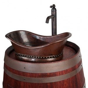 Wine Barrel Vanity Package with Bath Tub Vessel Sink and Vessel Filler Faucet – Cabernet Finish