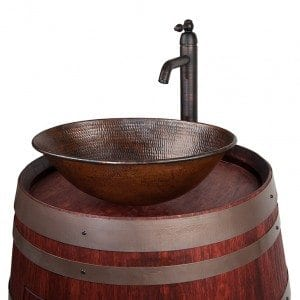 "Wine Barrel Vanity Package with 17"" Oval Wired Rim Vessel Sink and Vessel Filler Faucet - Cabernet Finish"