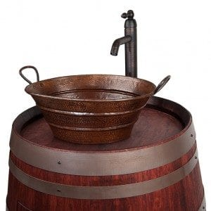 Wine Barrel Vanity Package with 16″ Oval Bucket Vessel Sink with Handles and Vessel Filler Faucet – Cabernet Finish