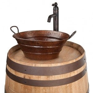 "Wine Barrel Vanity Package with 16"" Oval Bucket Vessel Sink with Handles and Vessel Filler Faucet - Natural Finish"