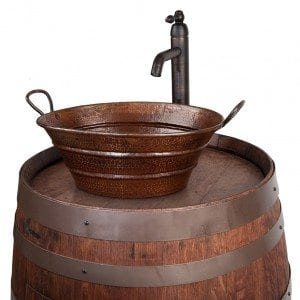 "Wine Barrel Vanity Package with 16"" Oval Bucket Vessel Sink with Handles and Vessel Filler Faucet - Whiskey Finish"