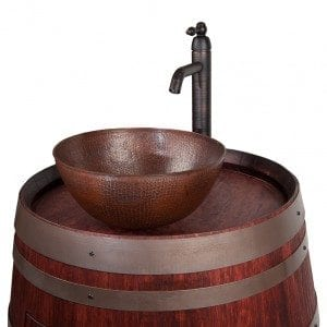 "Wine Barrel Vanity Package with 13"" Round Vessel Sink and Vessel Filler Faucet - Cabernet Finish"