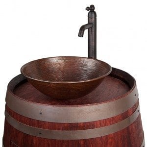 "Wine Barrel Vanity Package with 15"" Round Wired Rim Vessel Sink and Vessel Filler Faucet - Cabernet Finish"