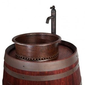 "Wine Barrel Vanity Package with 15"" Round Vessel Tub Sink and Vessel Filler Faucet - Cabernet Finish"
