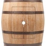 Wine Barrel Vanity Package with 15″ Round Vessel Tub Sink and Vessel Filler Faucet- Natural Finish