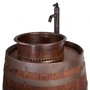 "Wine Barrel Vanity Package with 15"" Round Vessel Tub Sink and Vessel Filler Faucet - Whiskey Finish"