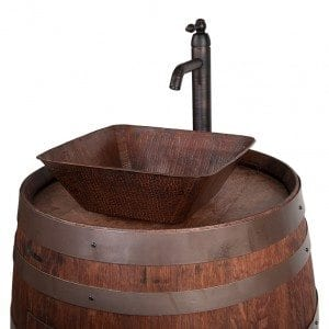 "Wine Barrel Vanity Package with 14"" Square Vessel Sink and Vessel Filler Faucet - Whiskey Finish"