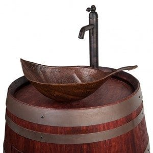 Wine Barrel Vanity Package with Leaf Vessel Hammered Copper Sink and Vessel Filler Faucet – Cabernet Finish