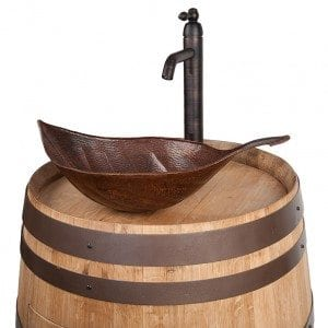 Wine Barrel Vanity Package with Leaf Vessel Hammered Copper Sink and Vessel Filler Faucet – Natural Finish